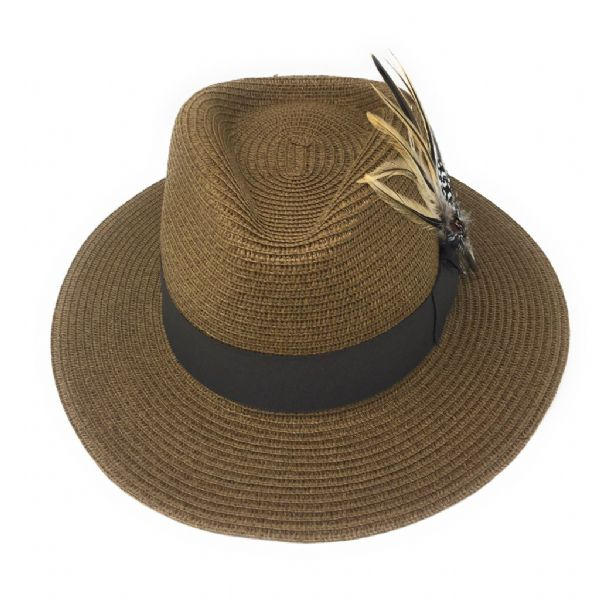 Brown Summer Fedora Hat with Removable Feather Brooch - Tawney